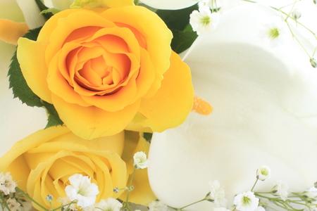 rosas amarillas: rosa amarilla y el lirio de cala imagen de fondo de la boda de Foto de archivo