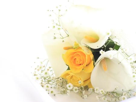 rosas amarillas: calla y lirio imagen Ramo de la boda de Foto de archivo