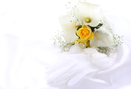 Wedding bouquet and gloves Stock Photo