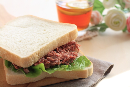 Homemade corned beef and lettuce sandwich Stock Photo