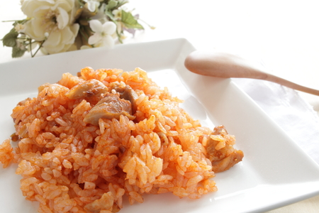 ketchup and chicken fried rice 版權商用圖片