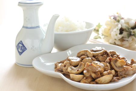 stir fried: Chinese food mushroom and chicken stir fried with rice