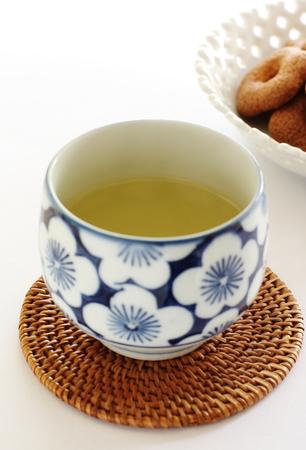 japanese green tea: Japanese green tea with wagashi Stock Photo