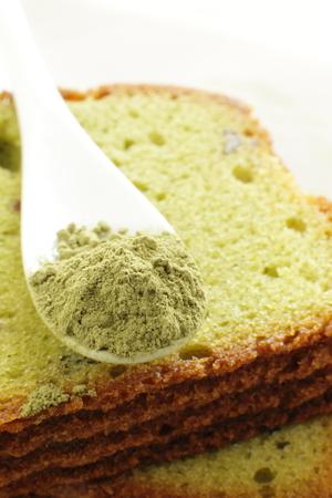 pound cake: Macha powder on pound cake for food ingredient image