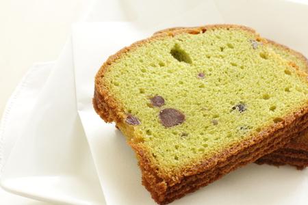 pound cake: Japanese food Green tea and red bean pound cake Stock Photo