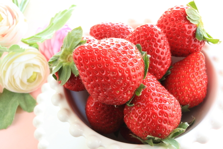 copy sapce: freshness strawberry from Japan