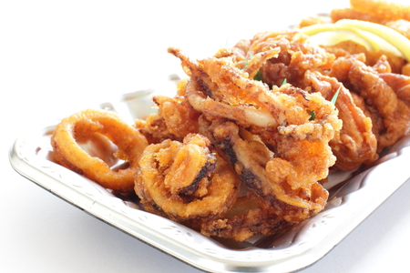 deep fried of squid right and chicken for party food image