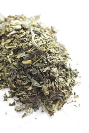 japanese green tea: close up of Japanese green tea leaves Stock Photo