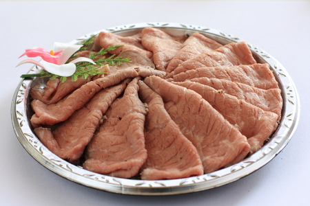 party with food: Roasted beed sliced on party food tray