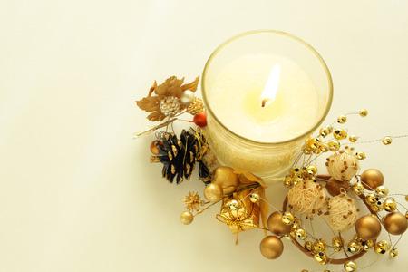 high angles: Christmas candle
