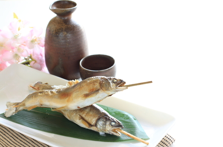 ayu: Japanese food, sweet fish Ayu grilled and salted with Sake Stock Photo