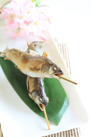 ayu: Japanese food, sweet fish Ayu grilled and salted