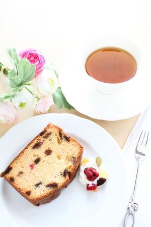 pound cake: homemade dried fruit pound cake and tea