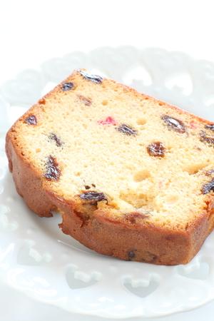 pound cake: Dried fruit pound cake on dish