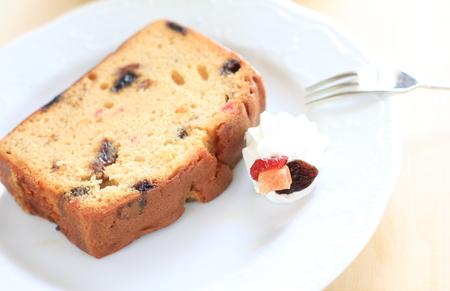 pound cake: close up of dried fruit pound cake