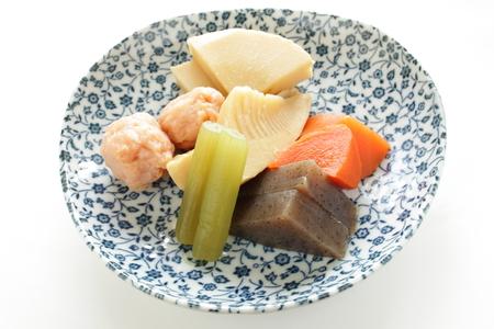 fish ball: Japanese food, simmerd vegetable and fish ball for Nimono image Stock Photo