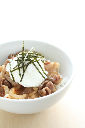 poach: poach egg on simmered pork for Japanese food image
