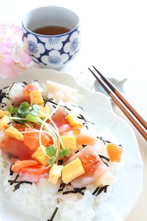 pearl tea: Chirashizushi and tea, Japanese food Stock Photo