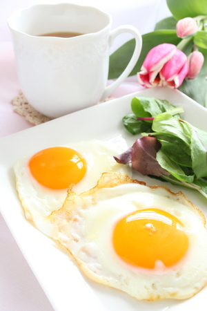 自家製目玉目玉グルメ朝食イメージ 写真素材