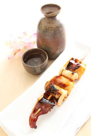 griller: Japanese food, squid and soy sauce grilled