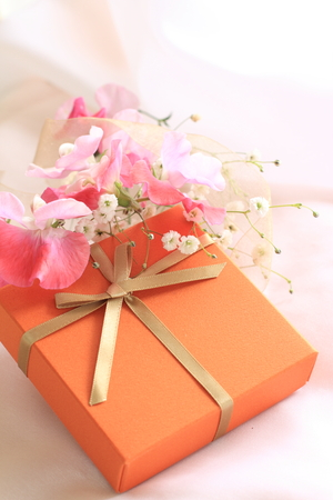 sweet pea: Sweet pea and gift box Stock Photo