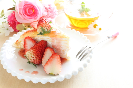 crepe: Homemade strawberry crepe cake