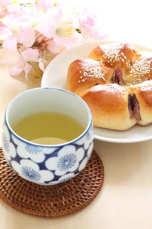 japanese green tea: Japanese green tea and Anko bread Stock Photo