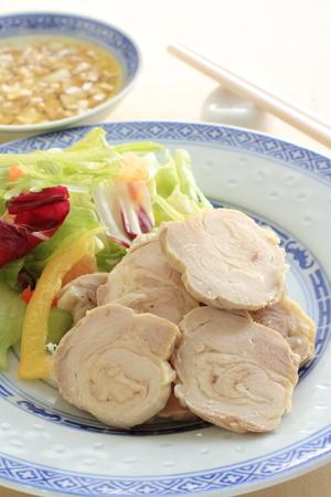 meat sauce: steamed chciken roll