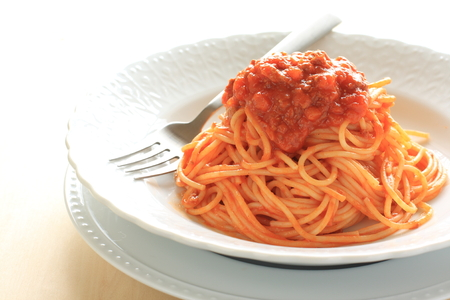 meat sauce: Meat sauce spaghetti Stock Photo