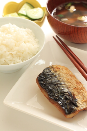 Japanese food, grilled Mackerel and rice