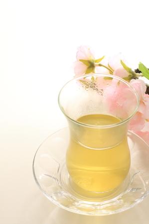 japanese green tea: Japanese green tea and flower Stock Photo