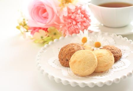 Caramel cookie and tea Stock Photo