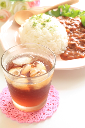 iced tea: iced tea and keema curry