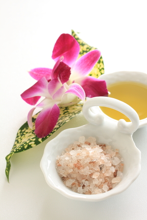 rock salt: rock salt and orchid Stock Photo