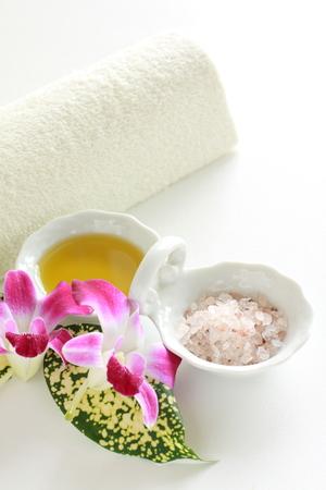 rock salt: Orchid and rock salt for beauty image