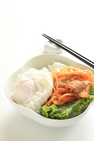 korean food: Korean food, stir fried pork and poached egg on rice