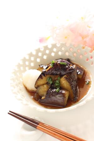 dashi: eggplant and sauce with chopstick