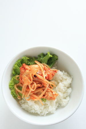 stir fried: Korean food, kimchi and pork belly stir fried on rice
