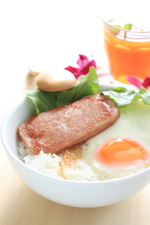 sunny side: luncheon meat and sunny side up on rice Stock Photo
