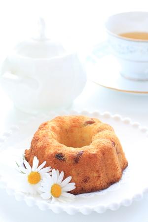 homemade cake: Homemade cake and tea