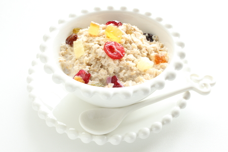 dried fruit: Healthy food, oat meal and dried fruit Stock Photo