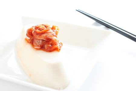 korean food: Korean food, kimchi on tofu