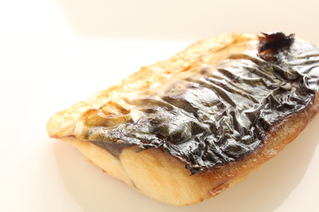 saba: Japanese food, grilled Mackerel Saba Stock Photo