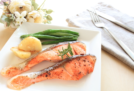 french bean: Pan fried Salmon fish served with potato and french bean Stock Photo