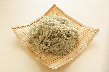 close up food: close up of Japanese dried food, Kombu on basket