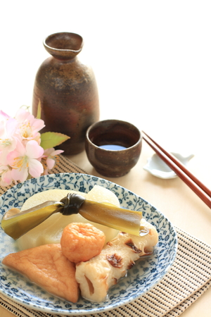 fish ball: Japanese winter cuisine, Oden simmered fish ball and vegetable Stock Photo
