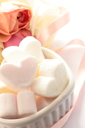 shaped: heart shaped marshmallow for valentines day image Stock Photo
