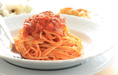 italian food, meat sauce spaghetti Imagens