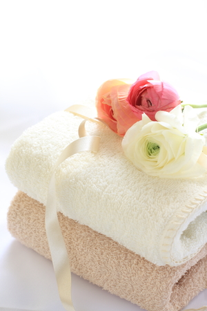 indoor background: ranunculus on towel for house keeping image