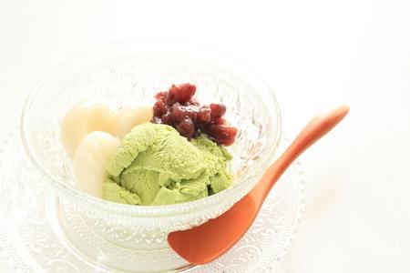ice cream glass: Japanese food, green tea ice cream served with dango